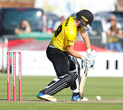Gloucestershire's Ryan Higgins blocks<br /> <br /> Photographer Simon King/Replay Images<br /> <br /> Vitality Blast T20 - Round 1 - Somerset v Gloucestershire - Friday 6th July 2018 - Cooper Associates County Ground - Taunton<br /> <br /> World Copyright © Replay Images . All rights reserved. info@replayimages.co.uk - http://replayimages.co.uk