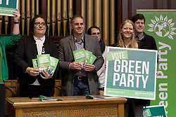 © Licensed to London News Pictures. 28/04/2017. LONDON, UK. JONATHAN BARTLEY, Green Party co-leader, AIMEE CHALLENOR, Green Party LGBTIQA+ spokesperson, SIAN BERRY and supporters at the Green Party LGBTIQA+ manifesto launch, at Trinity United Reform Church in London. Jonathan Bartley and Aimee Challenor today set out set out the Green Party LGBTIQA+ manifesto pledges, including commitment to provide the HIV prevention drug PrEP on the NHS.  Photo credit: Vickie Flores/LNP