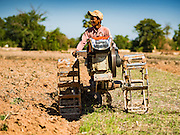 02 JUNE 2016 - SIEM REAP, CAMBODIA: A farm worker tills land on a rice farm near Seam Reap. Cambodia is in the second year of  a record shattering drought, brought on by climate change and the El Niño weather pattern. Farmers in the area say this is driest they have ever seen their fields. They said they are planting because they have no choice but if they rainy season doesn't come, or if it's like last year's very short rainy season they will lose their crops.     PHOTO BY JACK KURTZ