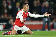 Alexis Sanchez of Arsenal appeals for a penalty. UEFA Champions league group A match, Arsenal v Paris Saint Germain at the Emirates Stadium in London on Wednesday 23rd November 2016.<br /> pic by John Patrick Fletcher, Andrew Orchard sports photography.