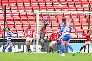 Manchester United goalkeeper Mary Earps (27) tips the ball over during the FA Women's Super League match between Manchester United Women and Reading LFC at Leigh Sports Village, Leigh, United Kingdom on 7 February 2021.