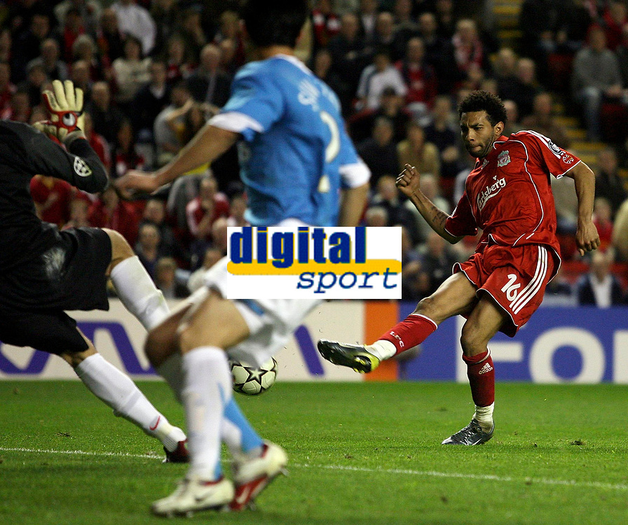 Photo: Paul Thomas.<br /> Liverpool v PSV Eindhoven. UEFA Champions League. Quarter Final, 2nd Leg. 11/04/2007.<br /> <br /> Jermaine Pennant (R) of Liverpool just has this shot saved.