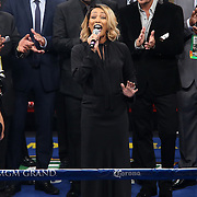 LAS VEGAS, NV - SEPTEMBER 13: Singer Monica performs the national anthem before Floyd Mayweather Jr. takes on Marcos Maidana for their WBC/WBA welterweight title fight at the MGM Grand Garden Arena on September 13, 2014 in Las Vegas, Nevada (Photo by Alex Menendez/Getty Images) *** Local Caption *** Monica