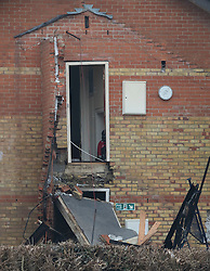 © Licensed to London News Pictures. 15/02/2017. Oxford, UK.  The remains of a block of flats damaged in an explosion near Osney Lock in Oxford. A number of people have been injured in what is thought to have been a gas explosion. Photo credit: Peter Macdiarmid/LNP