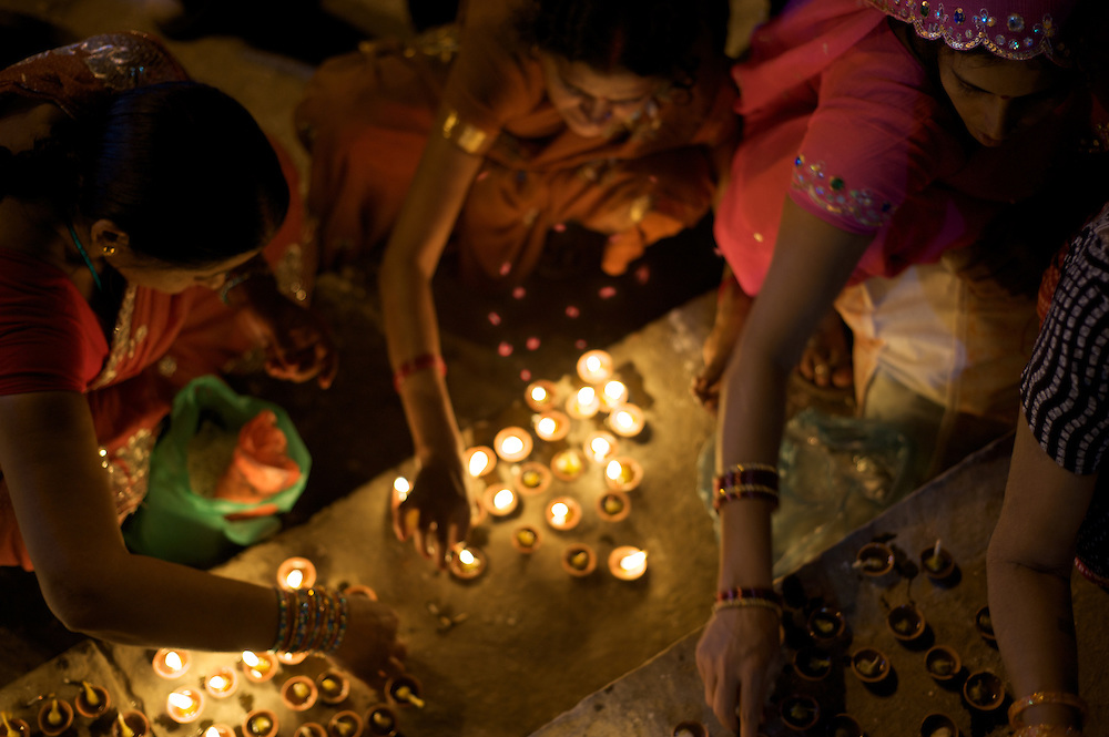 Deepavali is a Hindu festival. During this time rows of lights/lamps are lit. The festival is celebrated on the occasion of Krishna and his wife Satyabhama killing a demon Narakasura.