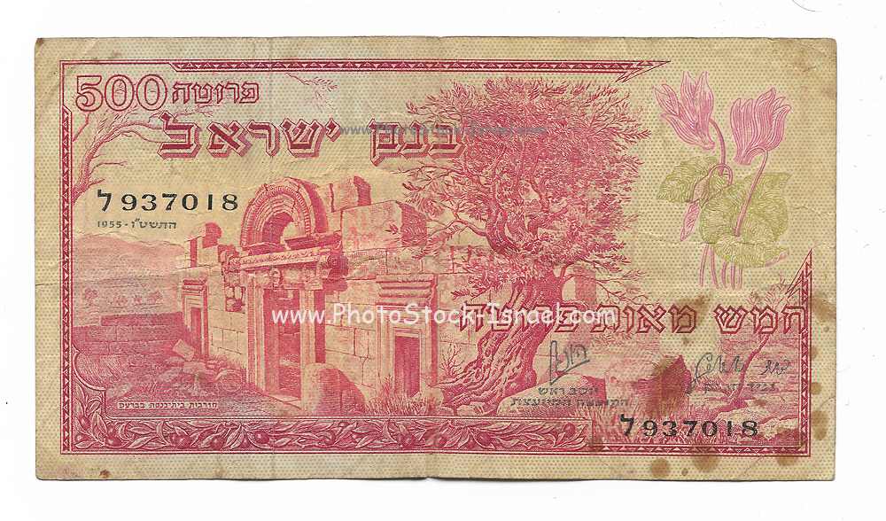Old Israeli 500 Prutah (Plural: Prutot) banknote from 1955. 1000 prutot made up one Israeli Lira (Pound)