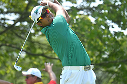 August 10, 2018 - St. Louis, Missouri, U.S. - ST. LOUIS, MO - AUGUST 10: Hideki Matsuyama hits his shot on the #2 tee during the second round of the PGA Championship on August 10, 2018, at Bellerive Country Club, St. Louis, MO.  (Photo by Keith Gillett/Icon Sportswire) (Credit Image: © Keith Gillett/Icon SMI via ZUMA Press)