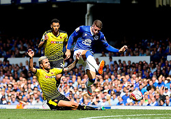 Everton's Ross Barkley is tackled by Watford's Valon Behrami - Mandatory byline: Matt McNulty/JMP - 07966386802 - 08/08/2015 - FOOTBALL - Goodison Park -Liverpool,England - Everton v Watford - Barclays Premier League
