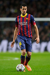 Barcelona Midfielder Sergio Busquets (ESP) in action - Photo mandatory by-line: Rogan Thomson/JMP - Tel: 07966 386802 - 18/02/2014 - SPORT - FOOTBALL - Etihad Stadium, Manchester - Manchester City v Barcelona - UEFA Champions League, Round of 16, First leg.