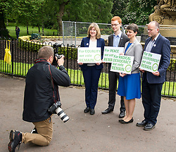 Pictured: Alison Johnstone, Ross Greer,  Maggie Chapman and Andy Wightman <br /> <br /> The Scottish Green Party launched their statement on European Referendum today in Edinburgh. MSPs Ross Greer, Andy Wightman, Alison Johnstone were joined by co-convenor Maggie Chapman and activists as they the party's position on the referendum  <br /> Ger Harley   EEm 13 June 2016