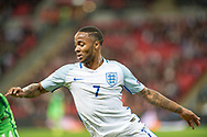 England (7) Raheem Sterling during the FIFA World Cup Qualifier match between England and Slovenia at Wembley Stadium, London, England on 5 October 2017. Photo by Sebastian Frej.