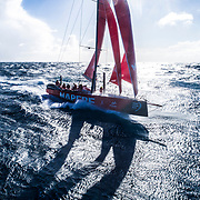 Leg 7 from Auckland to Itajai, day 11 on board MAPFRE, Aerial shot, the crew were peeling with 35-40 kts of wind, 28 March, 2018.