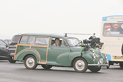 Coronation Street's Roy Cropper, played by David Neilson and Debbie Rush who plays Anna Windass filming in a car on the promenade at Blackpool.