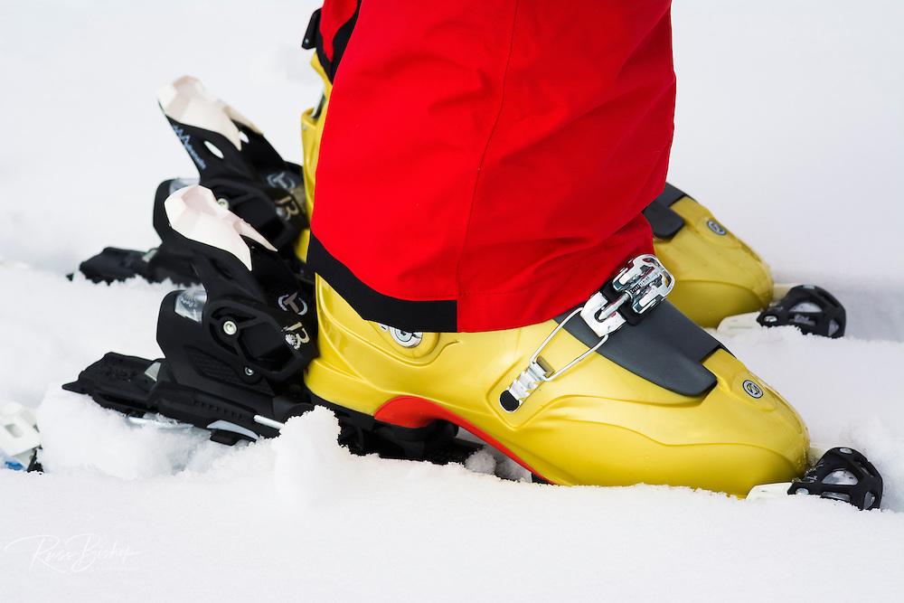 Backcountry skiers boots and binding, Grand Teton National Park, Wyoming USA