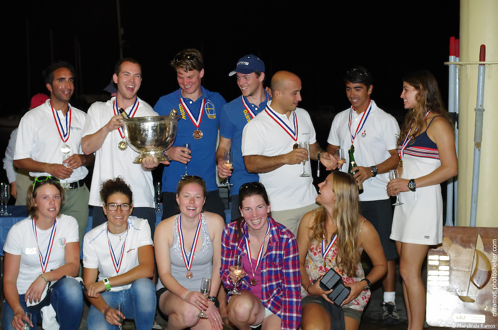 The top three 49er teams celebrate success at the 49er and 49erFX Nationals in Miami, FL