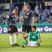 12.09.2020, Ernst-Abbe-Sportfeld, Jena, GER, DFB-Pokal, 1. Runde, FC Carl Zeiss Jena vs SV Werder Bremen<br /> <br /> <br /> <br /> Dennis Slamar (Carl Zeiss Jena #04)<br /> Davie Selke  (SV Werder Bremen #09) <br /> Marius Grösch (Carl Zeiss Jena #15)<br /> <br />  <br /> <br /> <br /> Foto © nordphoto / Kokenge