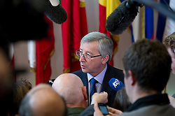 Jean-Claude Juncker, Luxembourg's prime minister, and president of the Eurogroup, speaks to members of the media following the euro-zone summit in Brussels, Belgium, on Friday, May 7, 2010. (Photo © Jock)