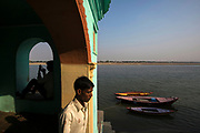 Dawn at Lal Ghat overlooking the Ganges, Varanasi, India