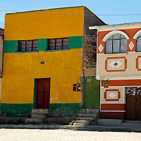 South America, Bolivia, Calamarca. Colorful buildings of Calamarca.