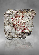 Geometric wall painting fragment found in 1999 in building 2, space 117, level IX. Unit no 4223X1. Catalhoyuk collection, Konya Archaeological Museum, Turkey. Against a grey background .<br /> <br /> (updated 2021) Add photos of Catalhoyuk Antiquities using ADD TO CART button as royalty free download or prints or download from our ALAMY STOCK LIBRARY page at https://www.alamy.com/portfolio/paul-williams-funkystock - Scroll down and type -  Catalhoyuk  - into LOWER search box. (TIP - Refine search by adding a background colour as well).<br /> <br /> Visit our PREHISTORIC PLACES PHOTO COLLECTIONS for more  photos to download or buy as prints https://funkystock.photoshelter.com/gallery-collection/Prehistoric-Neolithic-Sites-Art-Artefacts-Pictures-Photos/C0000tfxw63zrUT4