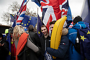 Vote Leave demonstrators protest with an inflatable banana in Westminster on the day of the 'meaningful vote' when MPs will back or reject the Prime Minister's Brexit Withdrawal Agreement on 15th January 2019 in London, England, United Kingdom.