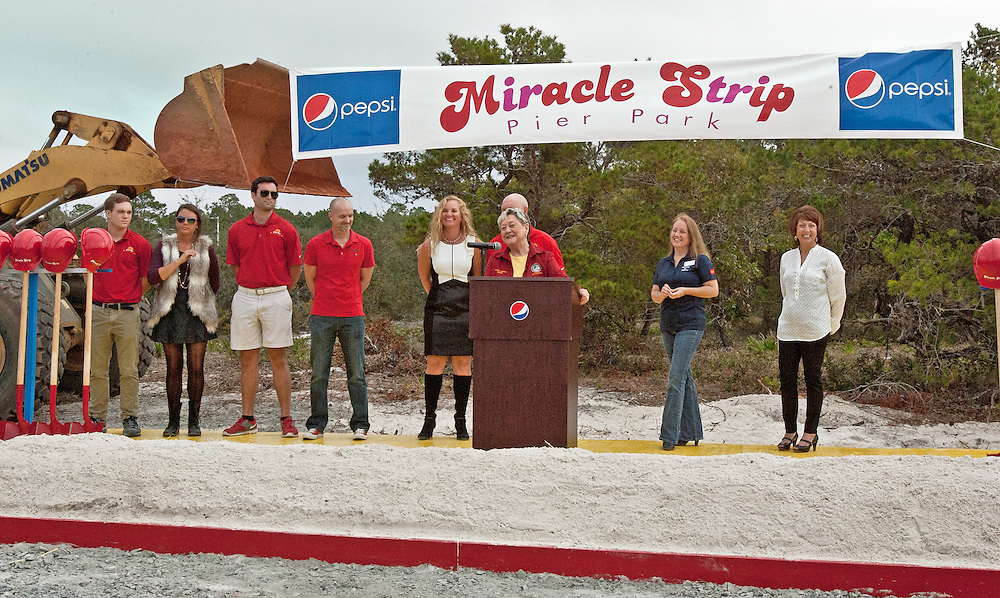 Panama City Beach Mayor Gayle Oberst addresses the crowd at the Miracle Strip Pier Park Ground Breaking