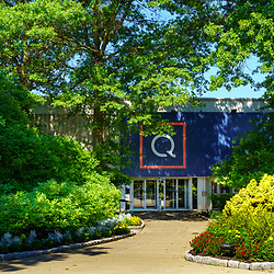 West Chester, PA, USA - August 5, 2020: The entrance to the QVC Studios. QVC shopping channel was founded in 1986, and broadcasts to more than 350 million households in seven countries.