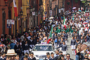 A beauty queen leads a parade through the historic district during Mexican Independence Day celebrations September 16, 2017 in San Miguel de Allende, Mexico.