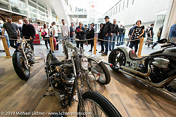 Custom bikes on display in the Invitational Swiss-Moto Customizing and Tuning Show. Zurich, Switzerland. Saturday, February 23, 2019. Photography ©2019 Michael Lichter.