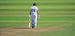 James Vince of Hampshire looks down after being dismissed for 0.  - Mandatory by-line: Alex Davidson/JMP - 23/08/2016 - CRICKET - Cooper Associates County Ground - Taunton, United Kingdom - Somerset v Hampshire - Specsavers County Championship Division One