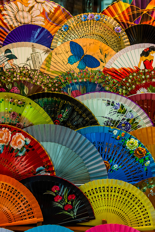 Decorative Spanish fans, Seville, Andalusia, Spain.