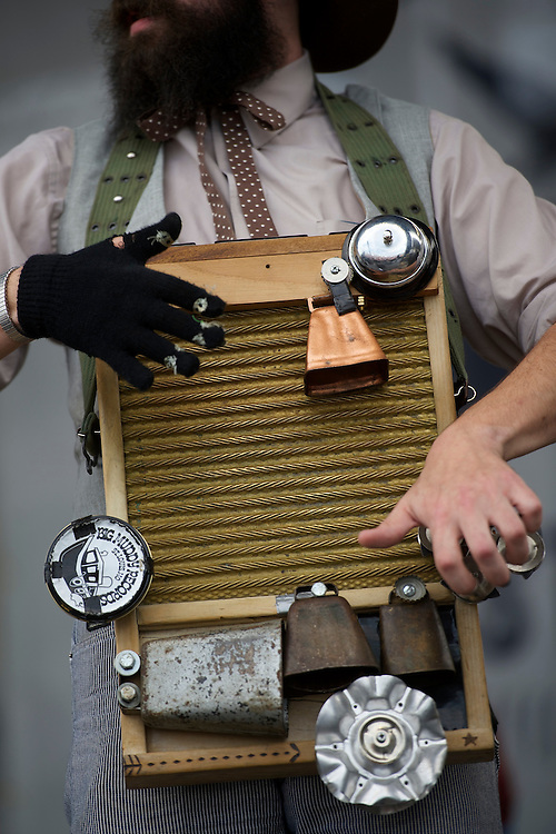 Ryan Koenig of the band Pokey Lafarge performs with a washboard during the Newport Folk Festival in Newport, RI on July 26, 2014. The three day festival was founded in 1959.