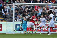 Lukasz Fabianski, the Swansea city goalkeeper makes a save from Alvaro Negredo of Middlesbrough (10). Premier league match, Swansea city v Middlesbrough at the Liberty Stadium in Swansea, South Wales on Sunday 2nd April 2017.<br /> pic by Andrew Orchard, Andrew Orchard sports photography.