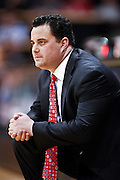 SHOT 1/21/12 6:18:12 PM - Arizona head basketball coach Sean Miller coaches against Colorado during their PAC 12 regular season men's basketball game at the Coors Events Center in Boulder, Co. Colorado won the game 64-63..(Photo by Marc Piscotty / © 2012)