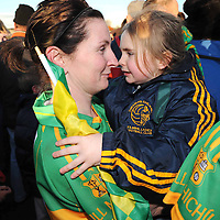 29 November 2008; Lina Russell, Kilmihil, holds her child Mikayla after the match. VHI Healthcare All-Ireland Ladies Junior Club Football Championship Final, Kilmihil, Clare, v Knockmore, Mayo. Tuam Stadium, Tuam, Co. Galway. Picture credit: Ray Ryan / SPORTSFILE