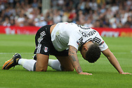 Fulham Defender Ryan Fredericks reacts as the ball goes out of play. EFL Skybet football league championship match, Fulham  v Norwich city at Craven Cottage in London on Saturday 5th August 2017.<br /> pic by Steffan Bowen, Andrew Orchard sports photography.