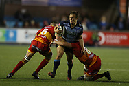Jarrod Evans of Cardiff Blues (c).Guinness Pro14 rugby match, Cardiff Blues v Dragons at the Cardiff Arms Park in Cardiff, South Wales on Friday 6th October 2017.<br /> pic by Andrew Orchard, Andrew Orchard sports photography.