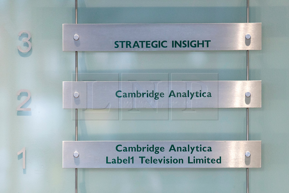 © Licensed to London News Pictures. 21/03/2018. London, UK. The Cambridge Analytica sign in their London offices. Cambridge Analytica has been implicated in an investigation into the misuse of Facebook user data to influence the outcome of elections. Photo credit: Rob Pinney/LNP