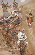 Rebecca Meets Isaac by the Way [book of Genesis], Gouache paint on cardboard by James Tissot  1896-1902