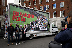 © Licensed to London News Pictures. 07/03/2019. London, UK. The unveiling of anti-Brexit billboard by the youth and student campaign group For our Future's Sake (FFS), in Westminster. The group have been calling for a people's vote on the withdrawal agreement. Photo credit: Ben Cawthra/LNP