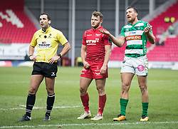 Benetton Rugby's Alberto Sgarbi; Scarlets' Paul Asquith and Referee Mathieu Raynal  watch the replays <br /> <br /> Photographer Simon King/Replay Images<br /> <br /> EPCR Champions Cup Round 3 - Scarlets v Benetton Rugby - Saturday 9th December 2017 - Parc y Scarlets - Llanelli<br /> <br /> World Copyright © 2017 Replay Images. All rights reserved. info@replayimages.co.uk - www.replayimages.co.uk