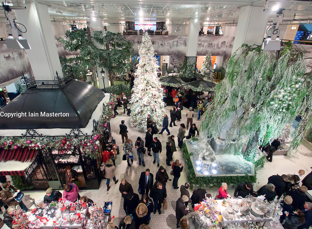 Interior of famous KaDeWe (Kaufhaus des Westens) department store at Christmas in Berlin Germany