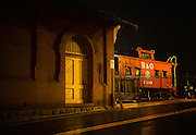 Night at the B&O Railroad Museum in Ellicott City, Maryland.