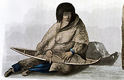 Copper Indian girl mending snow shoe. From John Franklin 'Narrative of a Journey to the Shores of the Polar Sea', London, 1823. Coloured lithograph.