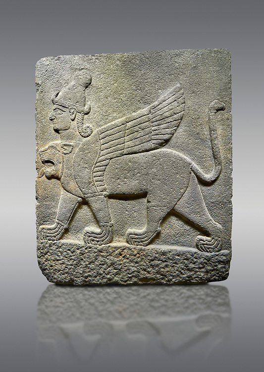 Hittite relief sculpted orthostat stone panel of Herald's Wall Basalt, Karkamıs, (Kargamıs), Carchemish (Karkemish), 900-700 B.C. Chimera. Anatolian Civilisations Museum, Ankara, Turkey.<br /> <br /> Three-headed sphinxes. Winged lion, with a bird of prey's head on the end of its tail, also has a human head with hair in plaits and a conical headdress. The details in his feet are very distinct. .<br />  <br /> If you prefer to buy from our ALAMY STOCK LIBRARY page at https://www.alamy.com/portfolio/paul-williams-funkystock/hittite-art-antiquities.html  - Type  Karkamıs in LOWER SEARCH WITHIN GALLERY box. Refine search by adding background colour, place, museum etc.<br /> <br /> Visit our HITTITE PHOTO COLLECTIONS for more photos to download or buy as wall art prints https://funkystock.photoshelter.com/gallery-collection/The-Hittites-Art-Artefacts-Antiquities-Historic-Sites-Pictures-Images-of/C0000NUBSMhSc3Oo