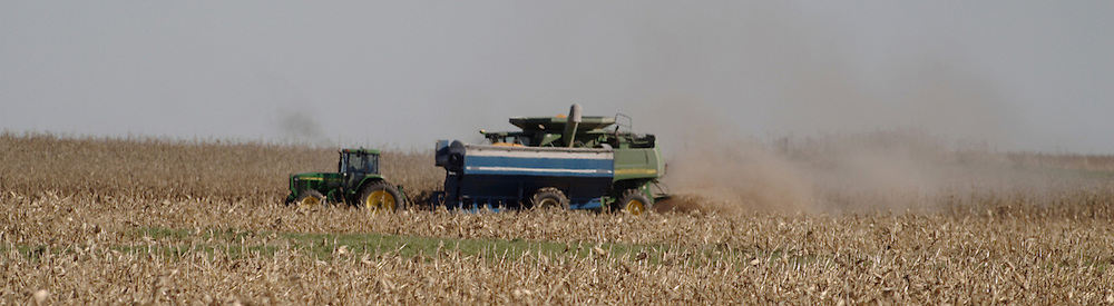 29 October 2006:  A very mechanized and choreographed method is used by this farmer.  One drives the combine, another drives a tractor pulling a wagon.  Both move in unison, except at the turns. The combine will fill the wagon as it moves along side. Rural McLean County, Illinois.<br />
