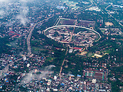 20 JUNE 2013 - YANGON, MYANMAR: An aerial view of Insein Prison in Yangon, located in Yangon Division, near Yangon (Rangoon), the old capital of Myanmar (Burma). The prison has been used largely to repress political dissidents. The prison is famous worldwide for its inhumane and dirty conditions, abusive techniques, and uses of mental and physical torture. Burmese democracy icon, Nobel Peace prize winning human rights activist, Aung San Suu Kyi, has been confined to Insein on three separate occasions in 2003, 2007 and 2009.   PHOTO BY JACK KURTZ