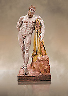 Painted colour verion of end of 2nd century beginning of 3rd century AD Roman marble sculpture of Hercules at rest copied from the second half of the 4th century BC Hellanistic Greek original,  inv 6001, Farnese Collection, Naples Museum of Archaeology, Italy