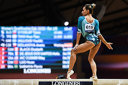 October 28, 2018 - Doha, Qatar - VASILIKI MILLOUSI from Greece competes on the balance beam during the second day of preliminary competition held at the Aspire Dome in Doha, Qatar. (Credit Image: © Amy Sanderson/ZUMA Wire)