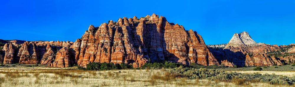 Arid Panorama: An arid panoramic view of a rocky out cropping along the Kalob Reservoir Road, Zion National Park, Utah USA.